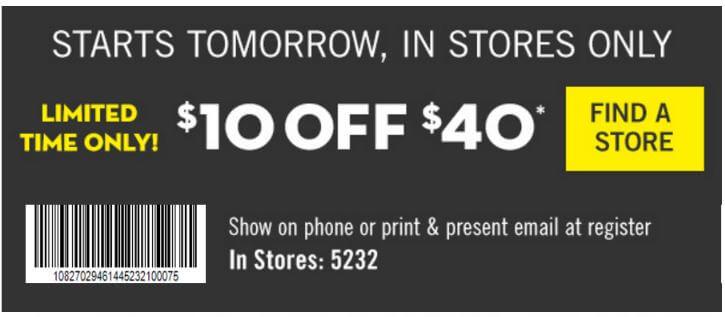 Printable: $10 off Orders $40+