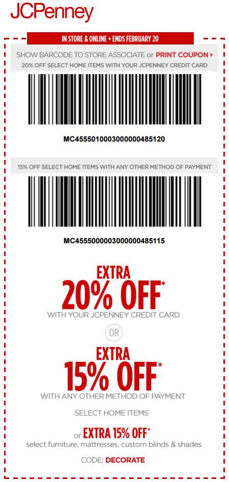 Printable: Extra 20% off Select Home Items with JCPenney Credit Card