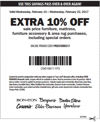 Printable: Extra 10% off Sale Price Furniture, Mattress and More