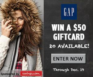 Gap gift cards giveaway image